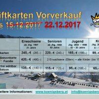 Kartenvorverkauf verlängert bis zum 22.12.2017