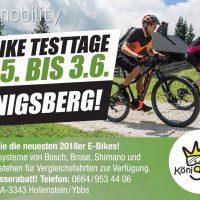 E-Bike Testtage von 31.5 – 3.6.2018